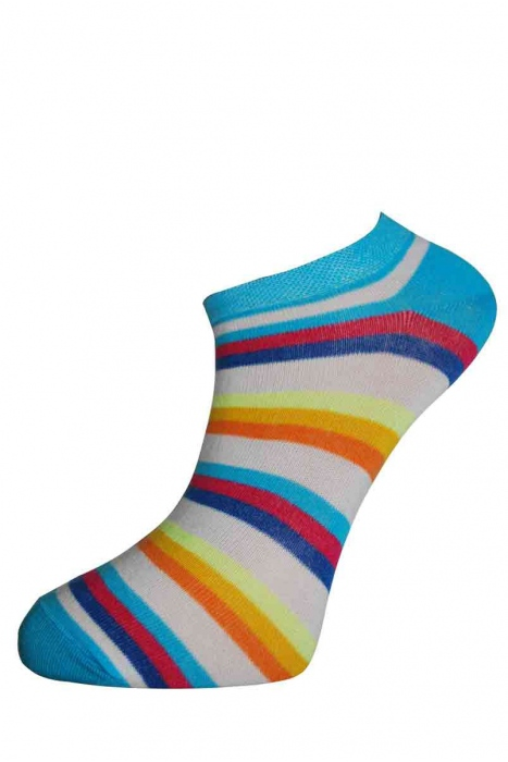 Дамски памучни шарени чорапи за маратонка терлик