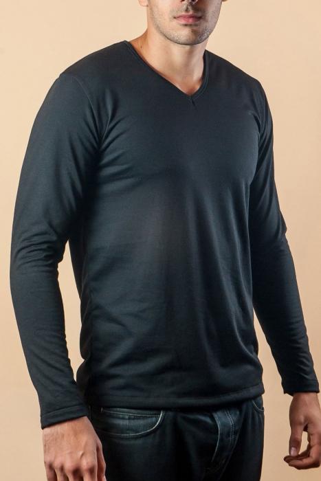 Термо Тениска Дълъг ръкав Шпиц Кардиран Памук 15-135
