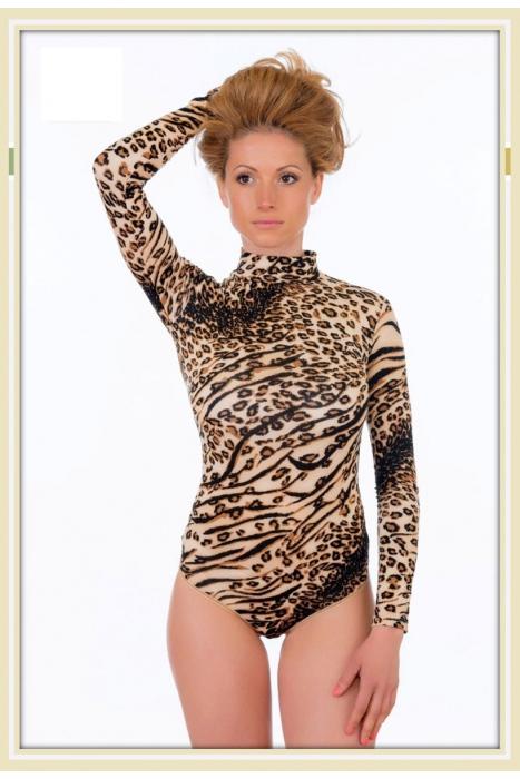 Леопардово Боди Полу-Поло с Дълъг Ръкав Прашка 1637