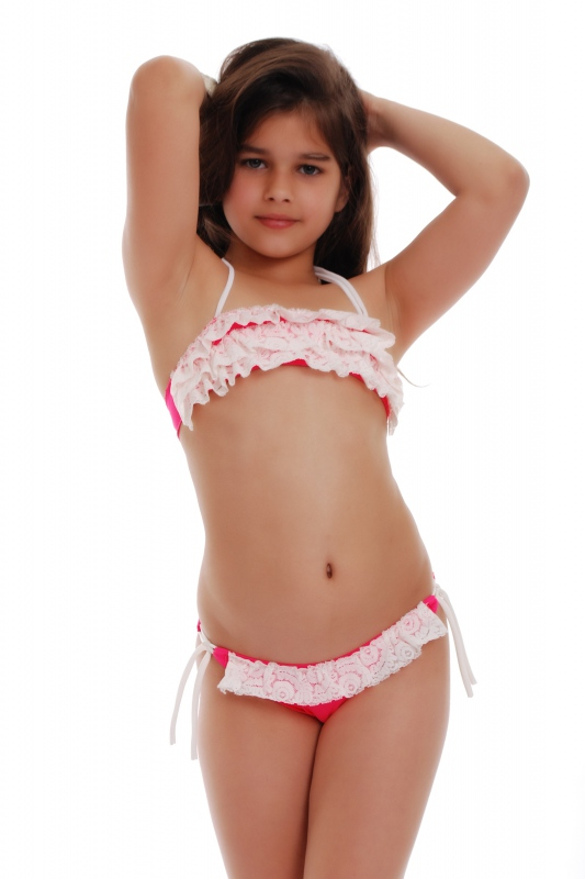 Детски Бански бандо с къдри и бикини с връзки 1115